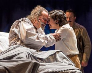 Lear (Geoff Eliot), reunited with daughter Cordelia (Erika Soto) in 'King Lear' at A Noise Within.